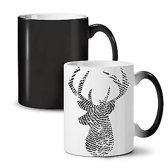 Deer Finger Print Animal NEW Black Colour Changing Tea Coffee Ceramic Mug 11 oz | Wellcoda