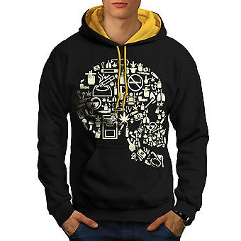 Head Rasta 42 Weed Skull Men Black (Gold Hood)Contrast Hoodie | Wellcoda