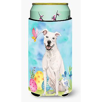 White Staffie Bull Terrier Easter Tall Boy Beverage Insulator Hugger