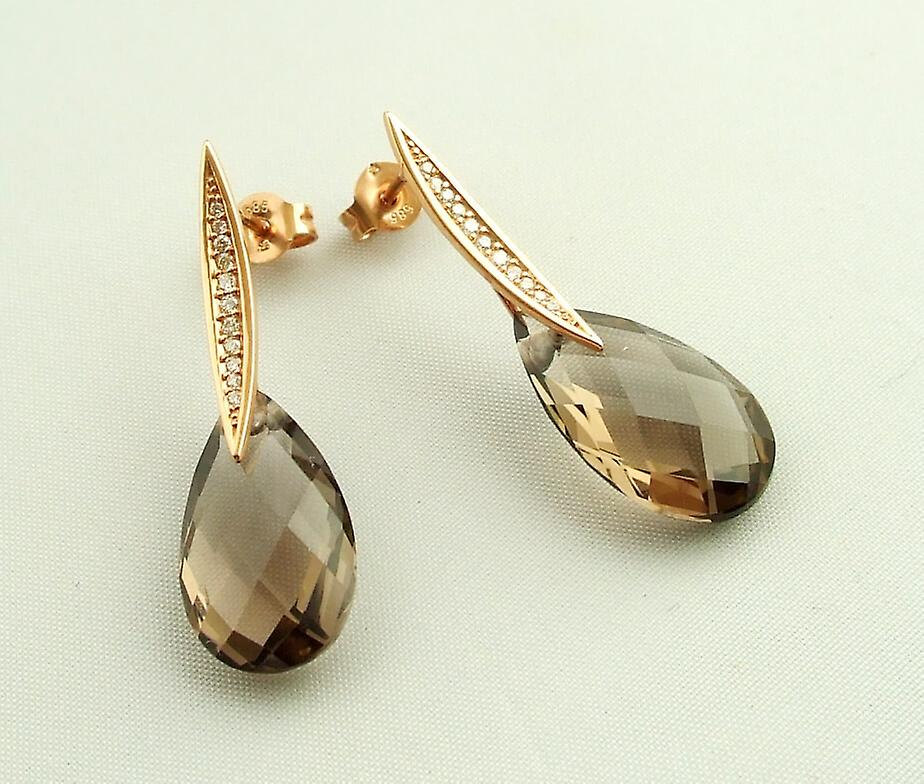 Gold Earrings with smoky quartz and diamond