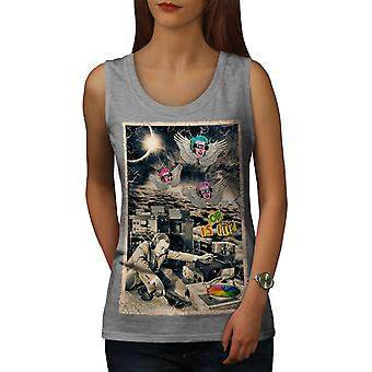 Not Real Life DJ Music Women GreyTank Top | Wellcoda