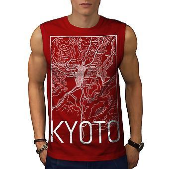 Kyoto-Stadtplan Mode Männer RedSleeveless T-shirt | Wellcoda