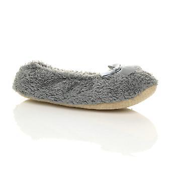 Ajvani womens elastico antiscivolo su pantofole in pile invernali cuore gioiello fiocco calzini