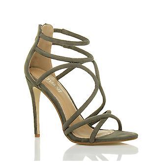 Ajvani kvinders højhælede strappy crossover knap der zip part stilethæl sandaler sko