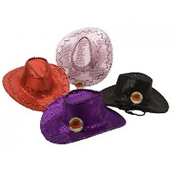 Sequin Cowboy Hats Assorted Colours * 4- PINK ONLY IN STOCK *