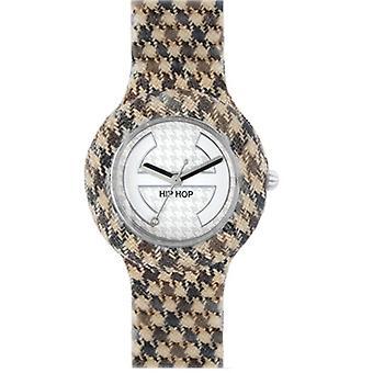 Hip hop horloge siliconen horloge pied de Poule kleine HWU0371 marron glace