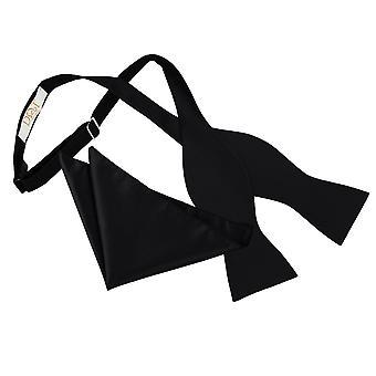 Black Solid Check Self-Tie Bow Tie & Pocket Square Set
