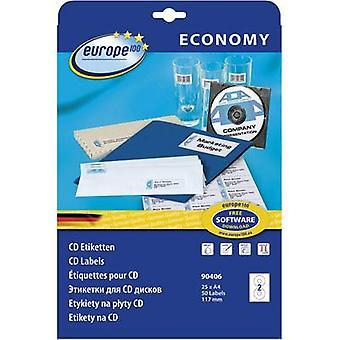 Europa CD 100 rótulos 90406 Ø 117 mm papel branco 50 computador (es) permanente Smearproof jato de tinta, Laser