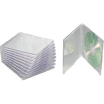 CD Slimline Jewel case 1 CD/DVD/Blu-Ray Kunststoff Transparent 10 PC