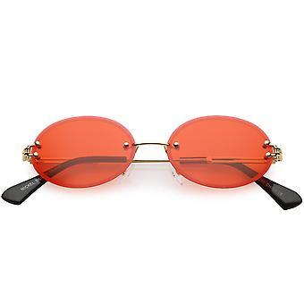 Bezoprawkowe okulary owalne Slim metalowe ramiona przyciemniane kolor neutralny obiektyw 54mm