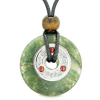 大きいケルト Triquetra 結び目お守りラッキー コイン ドーナツ チャーム緑の苔瑪瑙ペンダント ネックレス