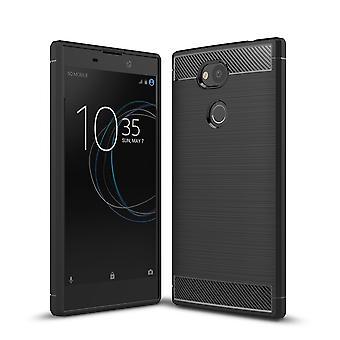 Sony Xperia L2 TPU caso de carbono fibra optica estuche negro cepillado