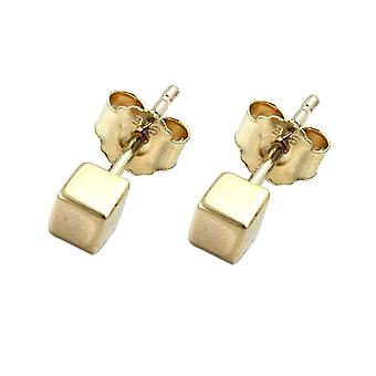 Golden dice earrings studs cubes 3 mm earring cube 9 KT gold 375