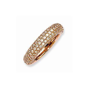 925 Sterling Silver Polerad Prong set Rosa pläterad med CZ Cubic Zirconia Simulerade Diamantring Smycken Gåvor för kvinnor