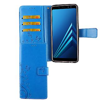 Samsung Galaxy A6 + plus 2018 cubierta del bolso de la caja móvil Flip titular caso azul