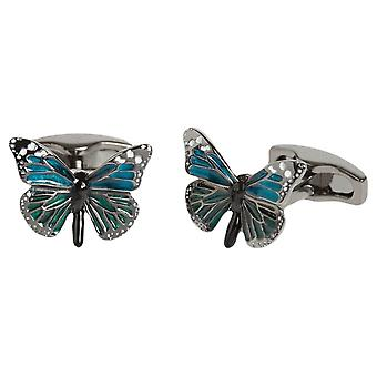 Simon Carter English Country Garden Butterfly Cufflinks - Blue/Jade Green/Silver