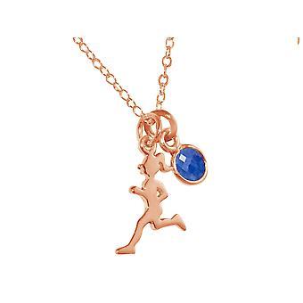 Gemshine Halskette Runner 925 Silber, vergoldet, rose Sportschmuck blauer Saphir