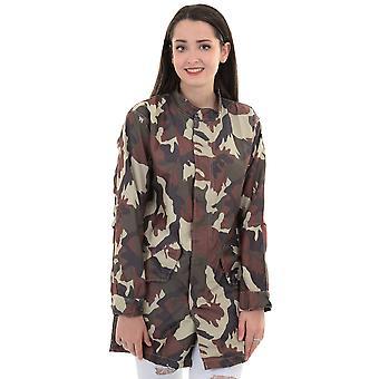 Ladies manches longues Popper Zip Up léger douche preuve Camo Jacket Coat