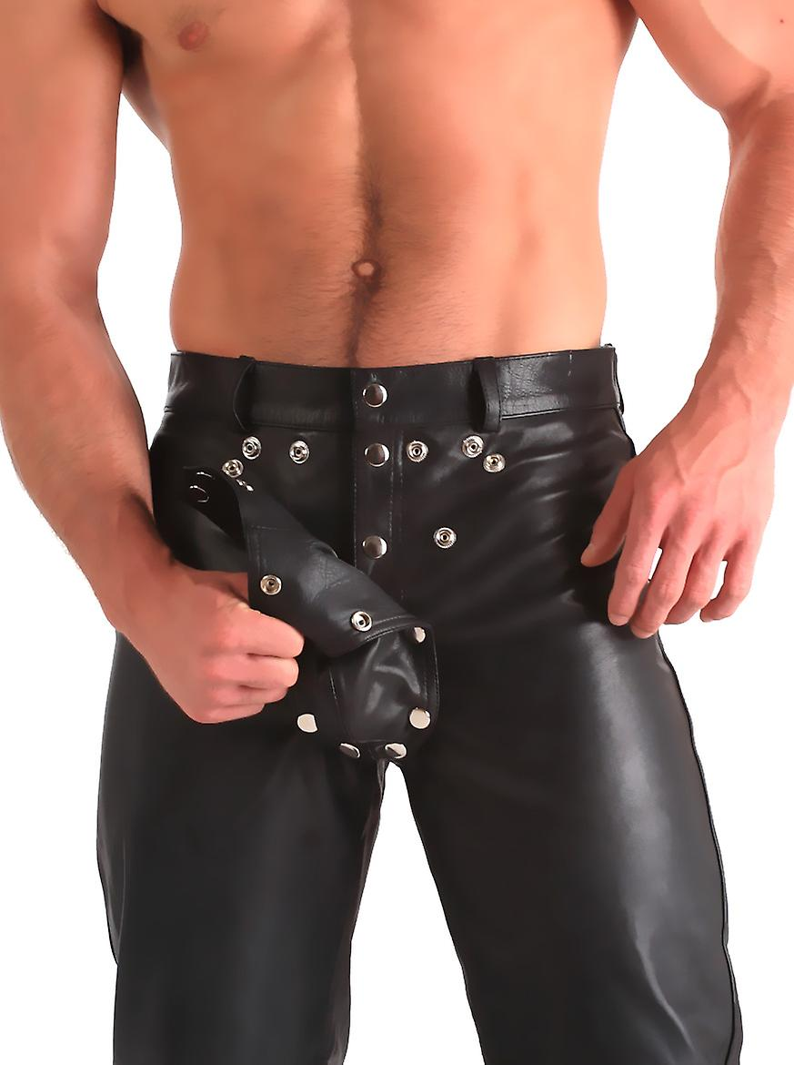 Honour Men's Sexy Trousers in Leather Black Cheeky Inviting Cutout Front