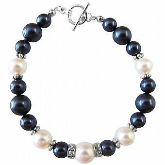 Bene Swarovski perle & argento Rondells Toggle Clasp 7 pollici braccialetto