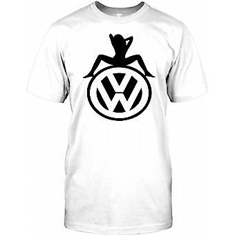 VW Mädchen saß auf Volkswagen inspiriert Kinder T Shirt - Logo