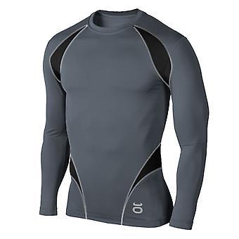 Jaco Mens Proguard Long Sleeve Rashguard - Gray/Black - mma bjj fitness