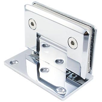 90 grados de pared ducha bisagra de puerta de cristal | Cromo plateado | Single Sided | Bordes afilados