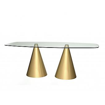 Gillmore Rectangular Clear Glass Dining Table With Conical Brass Base