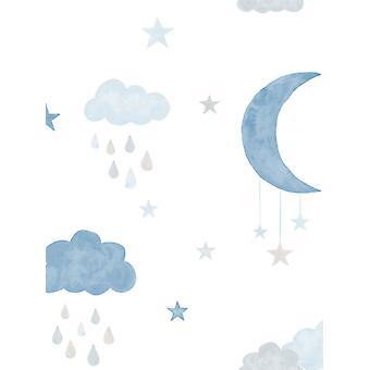 Små och kära Eco Clouds och Moon Wallpaper GranDeco