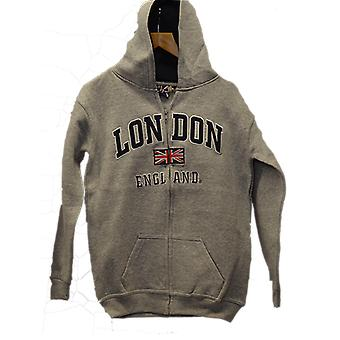 London england kids zipped hoodie hooded sweatshirt grey colour (le129kz)