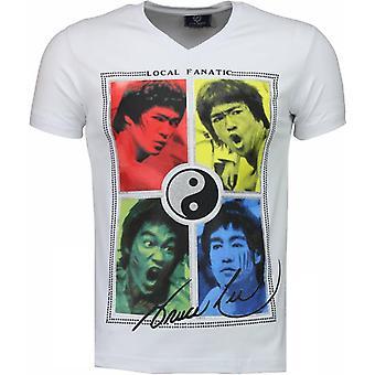 Bruce Lee Ying Yang-T-paita-valkoinen
