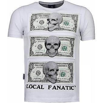 Лучше есть мои деньги-Rhinestone футболка-белый