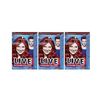 Schwarzkopf LIVE Intense 033 Scandalous Scarlet Pro Perm Hair Colour Dye 3 Per 2