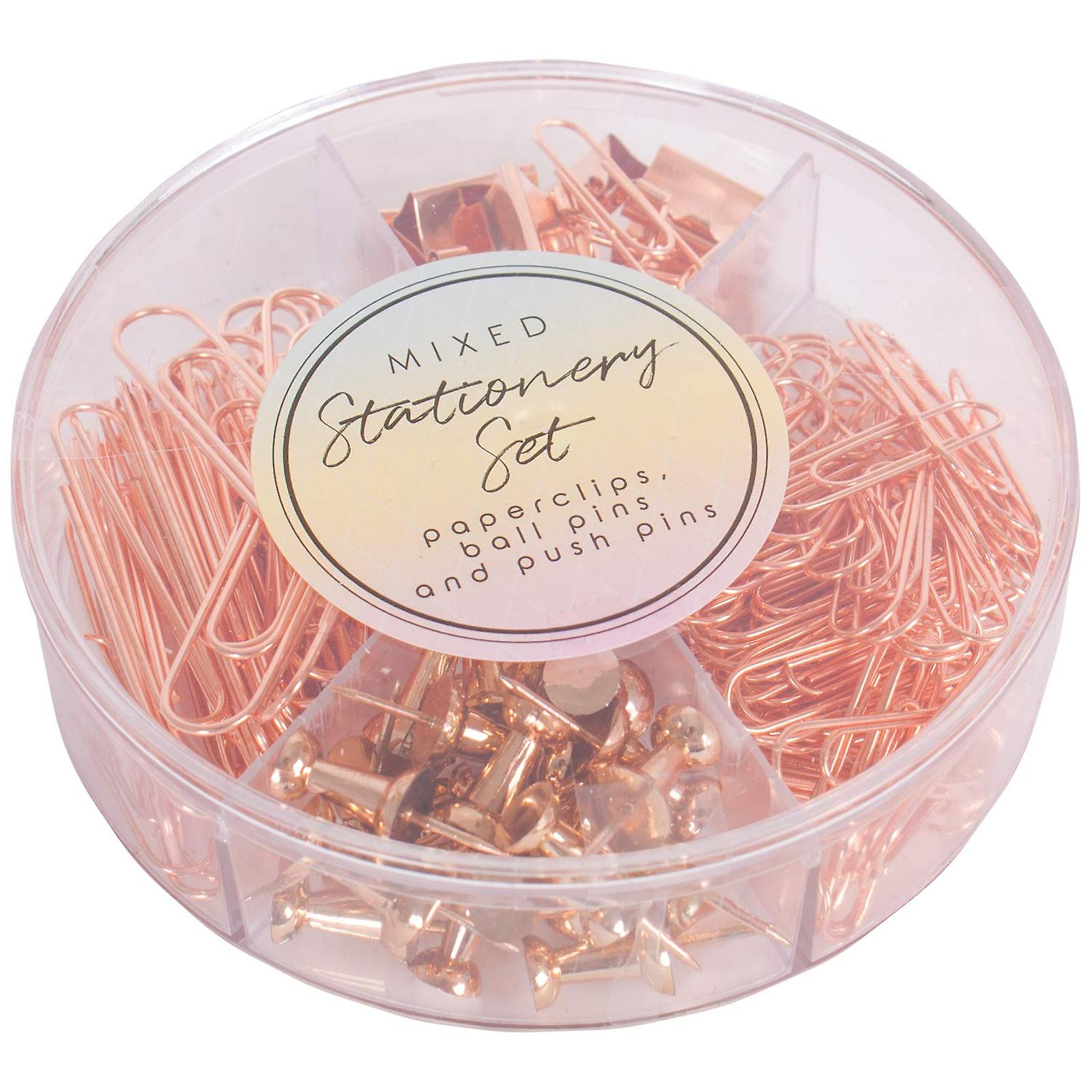 Rose Gold Office Stationery Accessory Set Paperclips Bulldog Clips & Push Pins