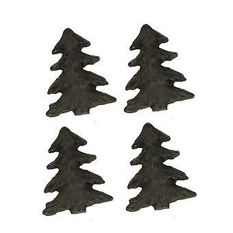 生锈的棕色金属艺术林地松树抽屉拉套 4