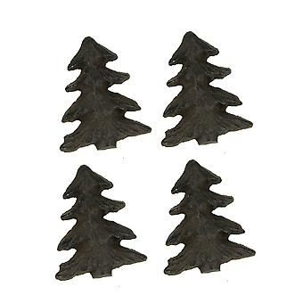 Rustic Brown Metal Art Woodland Pine Tree Drawer Pulls Set of 4