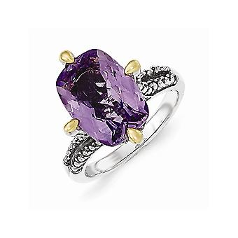 925 Sterling Silver With 14k Amethyst Ring Jewelry Gifts for Women - Ring Size: 6 to 8