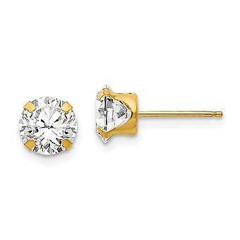14k Yellow Gold Polished Prong set 6.5mm CZ Cubic Zirconia Simulated Diamond Post Earrings Measures 6.5x6.5mm Jewelry Gi