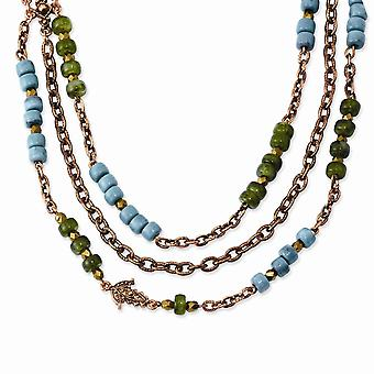 Fancy Lobster Closure Copper tone Green Teal and Brown Acrylic Beads 42inch Necklace Jewelry Gifts for Women