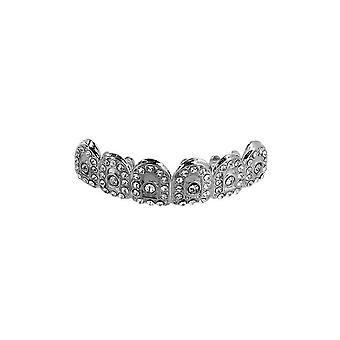 Grillz Silver Gatekeeper Iced Out Clear Cz Diamonds [top]