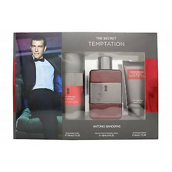 Antonio Banderas Secret Temptation gave sæt 100 ml EDT + 150ml deodorant spray + 50ml aftershave Balm