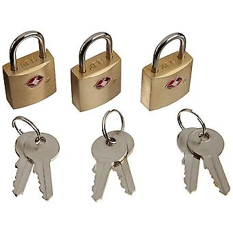 Lewis N. Clark Mini Brass Square Luggage Padlock, TSA-Approved, 3 Pack #TSA12-3