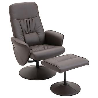 HOMCOM  Executive Recliner Chair High Back and Footstool Armchair Lounge Seat Brown