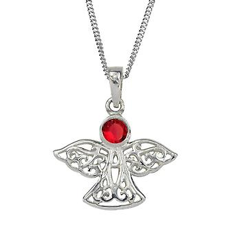 Celtic Eternity Knotwork Angel July Birthstone Necklace Pendant - A Ruby Stone - Includes A 18