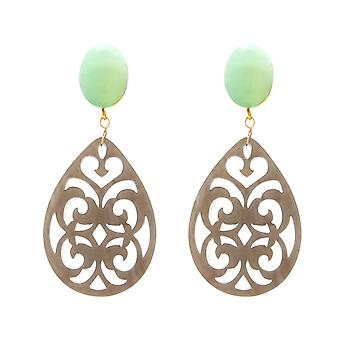 Boucles d'oreilles Gemshine Sea Green Chalcedone, Tortoiseplate Drop 925 Silver Plated
