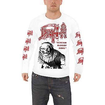 Death T Shirt Scream Bloody Gore Band Logo new Official Mens White Long Sleeve
