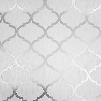Debona Crystal Trellis Geometric Glitter Metallic Wallpaper White Silver 8896