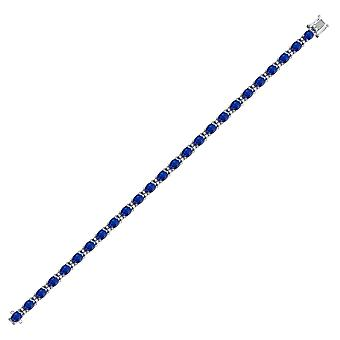 Jewelco London 9ct hvid guld 4 klo H i2 0,4 CT diamant og oval sort 16ct Sapphire tennis armbånd 4,2 mm