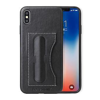 Til iPhone XS MAX Cover, Luksus Light Læder Back Shell telefon sag, sort