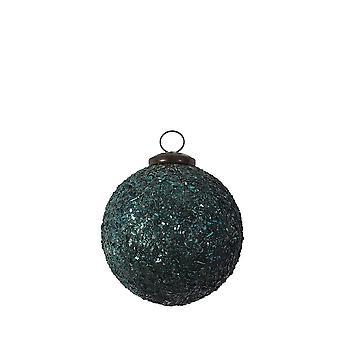 Light & Living Christmas Bauble 10cm Shiny Glass Petrol